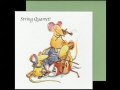 A fun card with artists drawing of a four mice playing violins and a cello tangled up with blue and red balls of string.