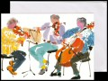 This card features a colourful artistic interpretation of three musicians playing two violins and a cello originally painted in watercolour.