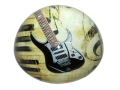 Black Electric Guitar Glass Domed Paperweight