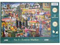 A 1000 piece festive jigsaw featuring a street market scene at Christmas with a brass band.