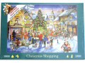 A 1000 piece jigsaw featuring a festive street scene at Christmas time. Featured is a group of musicians playing a tuba, clarinet, violin and accordion.