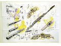 100% cotton teatowel with a design that shows flutes in shades of grey. Additionally, part sketches of flutes in shades of grey and yellow also feature.