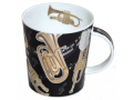 Quality fine bone china mug with black background and decorated with gold coloured brass instruments including trumpets, tubas, French horns and bugles.
