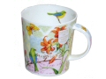 Colourful quality fine bone china mug decorated with different coloured panels of flowers, writing and a stave of music together with various colourful birds.