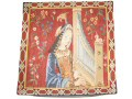Fine quality 45cm tapestry cushion cover with a design of a lady playing an early organ set on a rich red background with flowers.