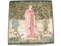 Fine quality 45cm tapestry cushion cover with a design of a lady, dressed in pink, playing an early harp style instrument.