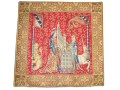 Fine quality 45cm tapestry cushion cover with a design of a lady playing an early organ set on a rich red background with a lion and unicorn on each side.
