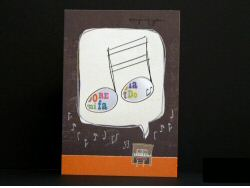 Abstract Notes With Hole Birthday Card