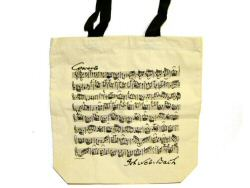 Bach Manuscript Design White Long Handled Bag