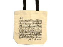 Beethoven Manuscript Design White Long Handled Bag