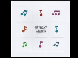 Birthday Wishes Colourful Music Notes Card - 1585Z0
