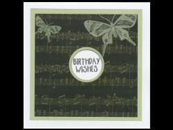 Birthday Wishes Music and Butterflies Card