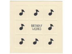 Birthday Wishes and Music Notes Cream Card