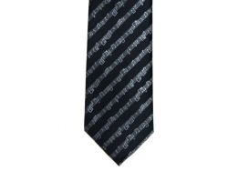 Black Tie With Diagonal Music Staves - 9cm