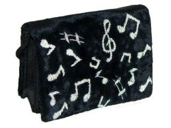 Black Velvet Occasional Bag With Music Notes Small
