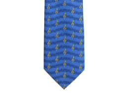 Blue Treble Clef and Music Stave Tie