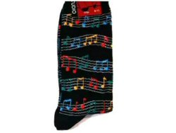 Black Socks Colourful Wavy Music Staff Design