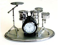 Drum Kit Clock Black