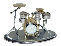 Drum Kit Clock Gold and Silver Colour