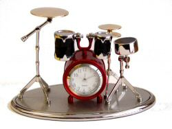 Drum Kit Clock Red and Black