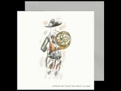 French Horn Player Wearing a Hat Card