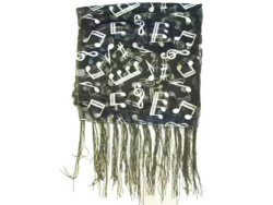 Dark Grey Scarf  Silver Notes Design With Tassels