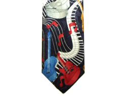 Guitars and Wave Pattern Tie