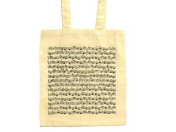 Music Manuscript Long Handle White Tote Bag