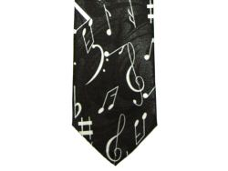 Black Tie with White Music Notation Design