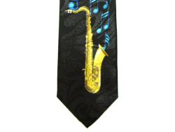 Saxophone and Blue Notes Tie