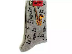 Grey Socks Saxophone and Notes Design