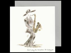 Saxophone Player Wearing a Hat Card