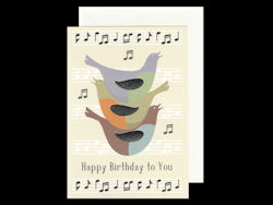 Birds and Notes Birthday Card