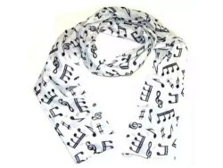 Cotton Scarf White With Black Music Design