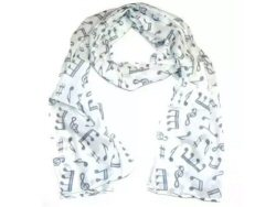Cotton Scarf White With Grey Music Design